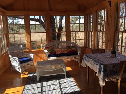 Wellfleet Cape Cod vacation rental - Sunroom: great for reading, games, eating, & nature-watching