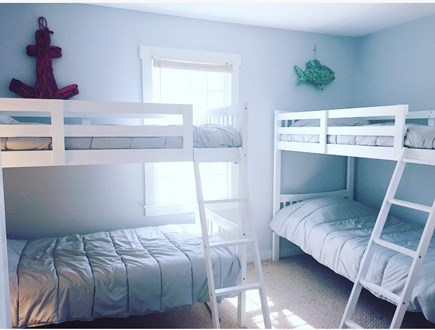 West Yarmouth Cape Cod vacation rental - Two bunk beds with new linens in downstairs br - closet & dresser