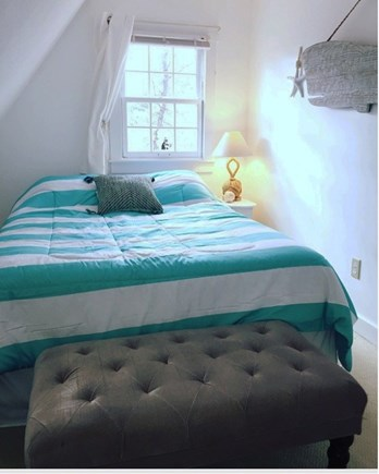 West Yarmouth Cape Cod vacation rental - Upstairs bedroom #2 - Queen bed with new linens, small closet