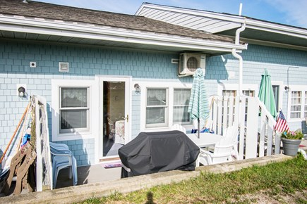 Chatham Cape Cod vacation rental - Rear Porch with table & chairs, umbrella, and grill