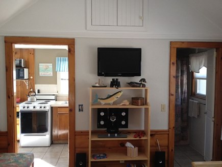 Dennis Port Cape Cod vacation rental - Living Room - Flat Screen TV w/ Cable - Vaulted Ceiling