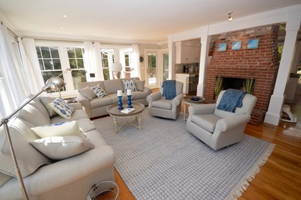 Orleans, MA Cape Cod vacation rental - Spacious living room with TV, opens to kitchen and deck