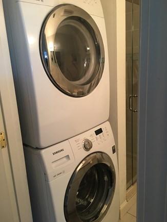 Hyannis Cape Cod vacation rental - Washing machine & dryer in hallway bathroom
