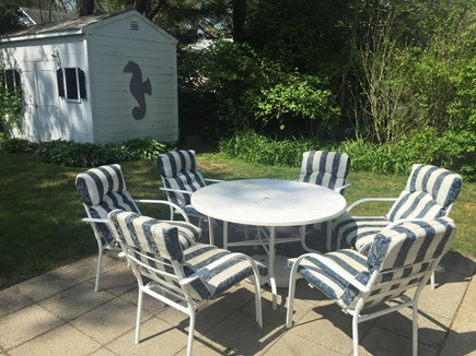 N Falmouth Cape Cod vacation rental - Back patio and shed