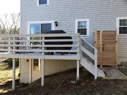 South Dennis Cape Cod vacation rental - Deck with grill and table.  Outdoor Shower.