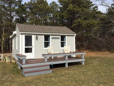 Truro Cape Cod vacation rental - Summertime the deck has table for dining