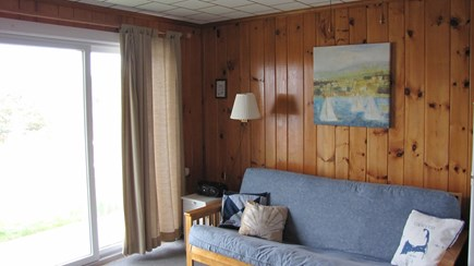 Truro Cape Cod vacation rental - Living room futon couch opens to bed