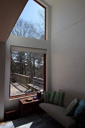Truro Cape Cod vacation rental - Living room looking out to private rear deck