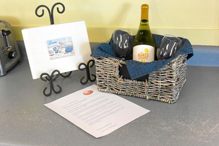 Onset MA vacation rental - Welcome letter has your personal door code and bottle of OK wine.
