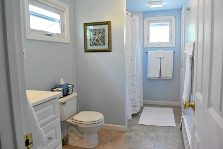 Onset MA vacation rental - Upstairs bath with tub/shower combo. All linens provided.