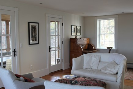 Truro Cape Cod vacation rental - Living room with door to the screen porch