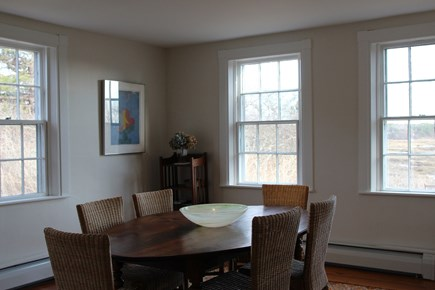 Truro Cape Cod vacation rental - Dining room with views; table seats eight guests