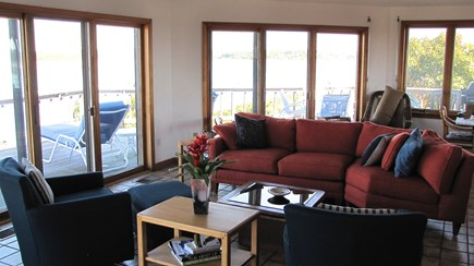 Wellfleet Cape Cod vacation rental - Partial view of living which opens to the expansive deck