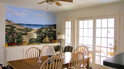Truro Cape Cod vacation rental - Dining Room with fun mural opens to the screen porch