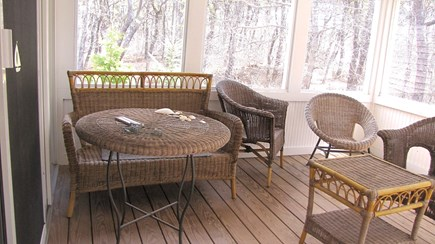 Truro Cape Cod vacation rental - Screen porch opens to deck, gas grille and enclosed shower