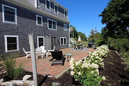 Truro Cape Cod vacation rental - Brick Patio has Wonderful Morning Sun and Enclosed Outdoor Shower