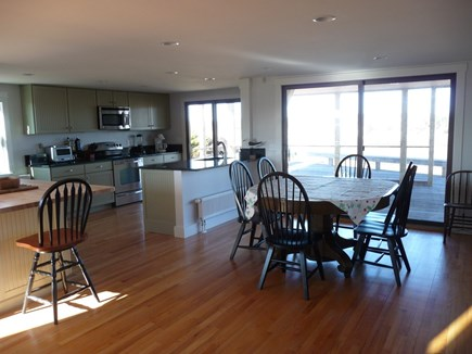 Truro Cape Cod vacation rental - Kitchen, dining with doors to porch and deck