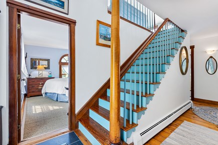 Provincetown Cape Cod vacation rental - Stairway to second floor open concept living, dining and kitchen.