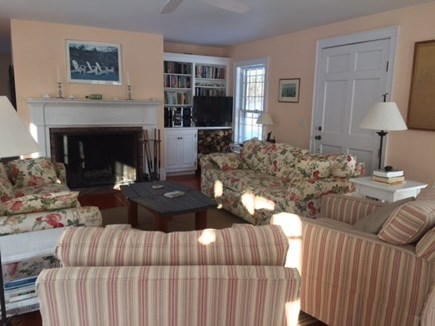 West Yarmouth Cape Cod vacation rental - Living room looking toward fireplace and TV