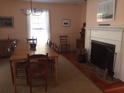 West Yarmouth Cape Cod vacation rental - Dining room with fireplace Seating for 8-10