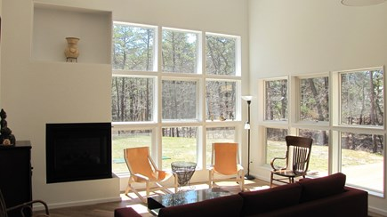 Wellfleet Cape Cod vacation rental - Living room looks out to back yard