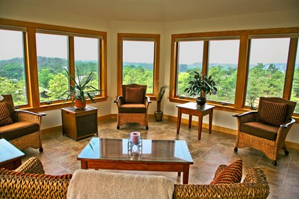 Wellfleet Cape Cod vacation rental - Sunroom with panoramic views over the treetops to the Bay!
