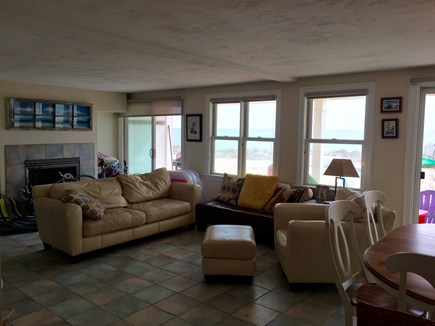 Truro Cape Cod vacation rental - Livingroom slider opens to deck and beach