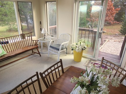 Brewster Cape Cod vacation rental - Sun room walks out to house-wide open deck.