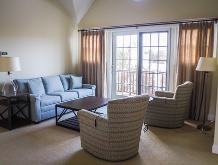 West Yarmouth Great Island Cape Cod vacation rental - Upstairs family room with sleeper sofa; sliding doors to balcony.
