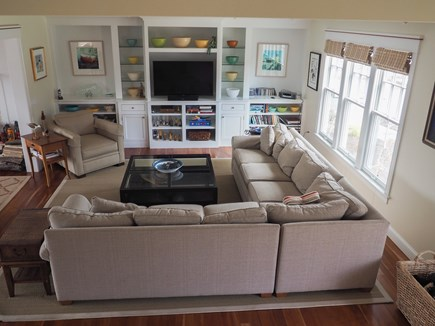 West Yarmouth Great Island Cape Cod vacation rental - Living room area view from the stairway.