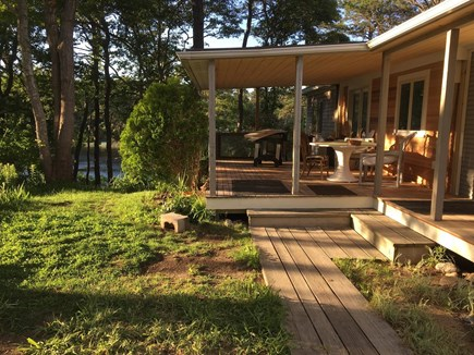 Chatham Cape Cod vacation rental - Kitchen entrance with screened in mahogany porch overlooking pond