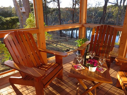 Chatham Cape Cod vacation rental - Relax in our custom Adirondack chairs overlooking pond & gardens