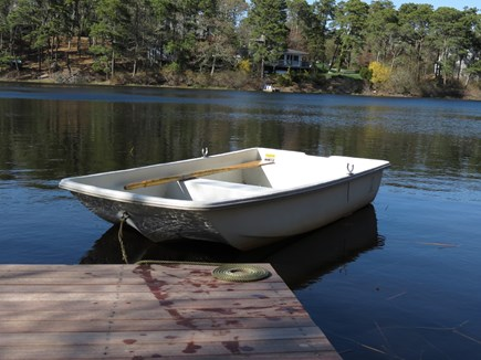 Chatham Cape Cod vacation rental - Pond view with rowboat secured to our dock