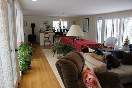 Chatham Cape Cod vacation rental - Cozy Liv Rm/Dining Room with pond view, TV on right out of frame