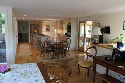 Chatham Cape Cod vacation rental - Living room facing Kitchen w/patio doors to porch on right