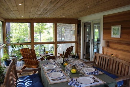 Chatham Cape Cod vacation rental - Enjoy dining on screened in lighted porch w/ breezes & nature