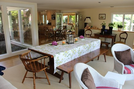 Chatham Cape Cod vacation rental - Very large custom Trestle dining table with Atrium & water view