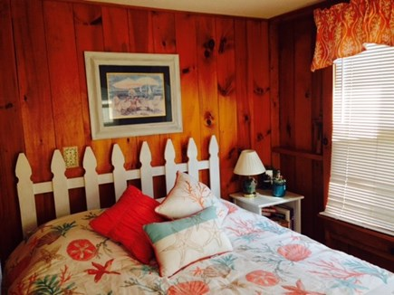 Falmouth Cape Cod vacation rental - Bedroom with queen size bed, bureau, books, reading lamp