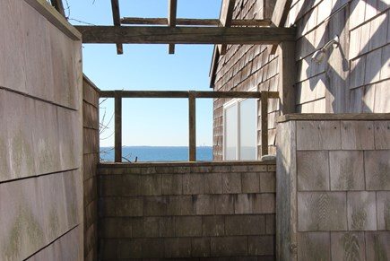 Truro Cape Cod vacation rental - Outdoor Shower Enclosure (hot & cold water) with View of Bay