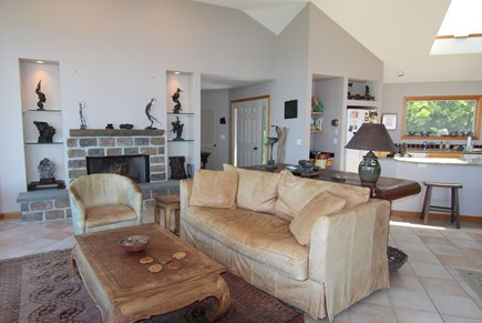 Truro Cape Cod vacation rental - Living Room Area and Kitchen With Bay View