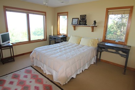 Truro Cape Cod vacation rental - Bedroom 1 - Queen Bed, Office Alcove With Water Views