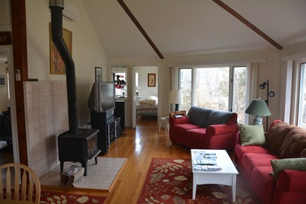 Orleans Cape Cod vacation rental - Cathedral ceiling in large living area with comfortable seating.