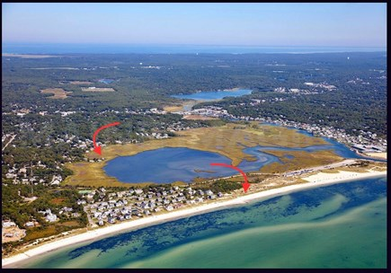 Yarmouth, The tip of South Sea Village Cape Cod vacation rental - The arrows point to the cottage and it's beach access.