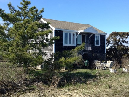 Yarmouth, The tip of South Sea Village Cape Cod vacation rental - The back yard from the waters edge April 2017