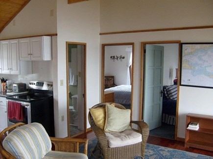 Yarmouth, The tip of South Sea Village Cape Cod vacation rental - Living area facing the two bedrooms & bath. Shower is tight!