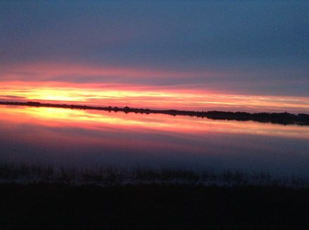 Yarmouth, The tip of South Sea Village Cape Cod vacation rental - Sunrise from the porch facing due East