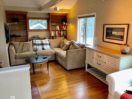 Wellfleet Cape Cod vacation rental - Open living area has flat screen TV and fireplace