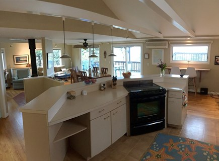 Wellfleet Cape Cod vacation rental - View from kitchen to open living area and bay views