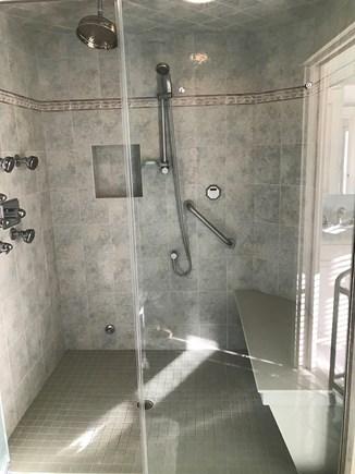 Harwich Cape Cod vacation rental - Luxurious master bath en suite has steam shower plus jetted tub.
