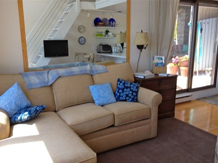 Provincetown Cape Cod vacation rental - Deck right outside sliders next to living room, indigo pillows